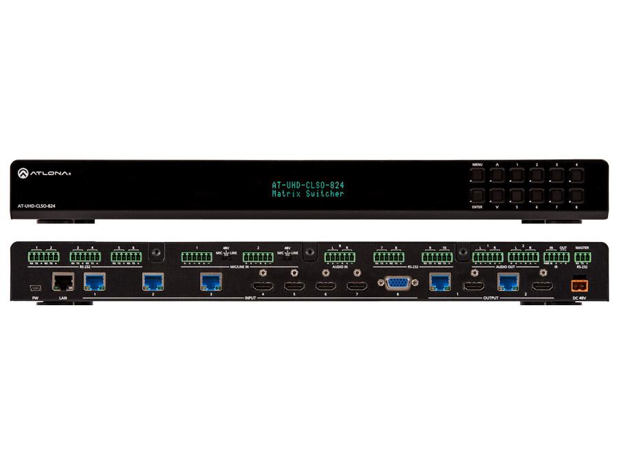 4K/UHD, 8×2 Мультиформатный Матричный коммутатор с двумя HDBaseT и зеркальными HDMI выходами
